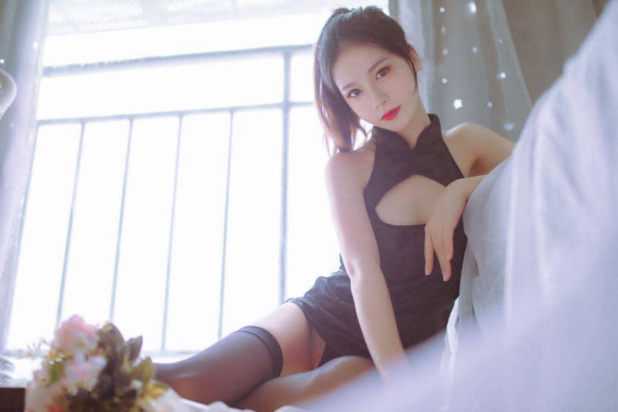 抖娘-利世 NO.003 抖娘×不呆猫 黑白旗袍双子 [41P231M]